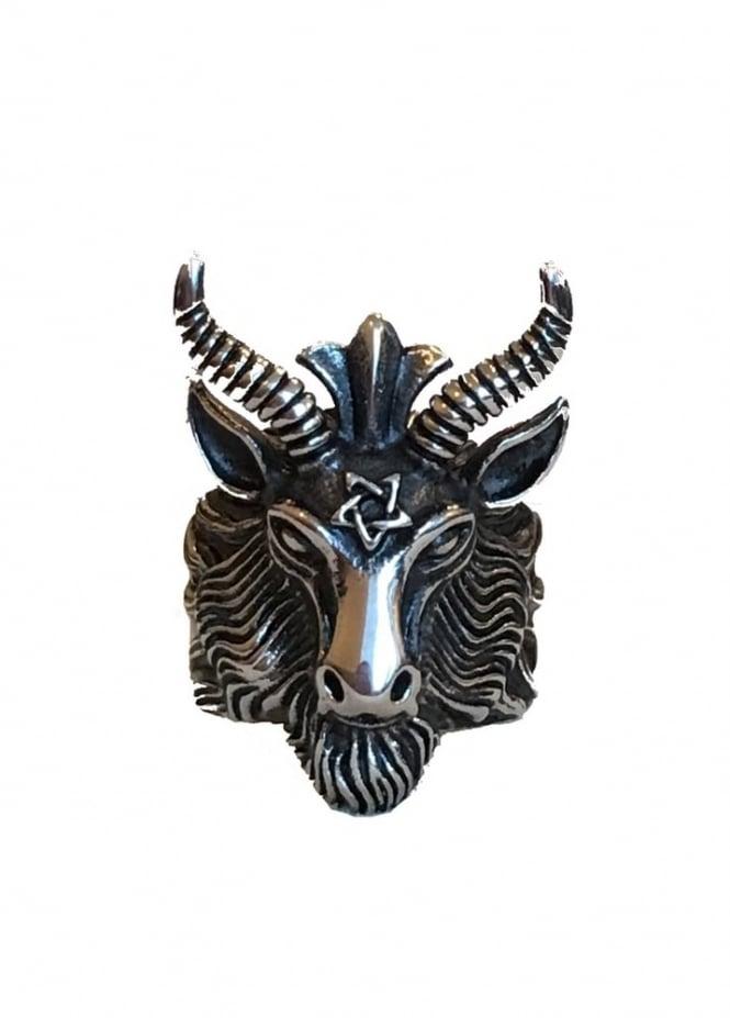 Mysticum Luna Pentagram Ram Head Ring