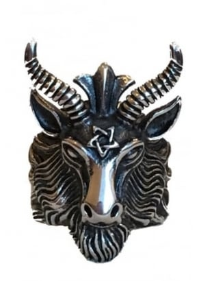 Pentagram Ram Head Ring