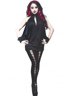 Feronia Cold Shoulder Gothic Batwing Top
