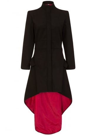 Necessary Evil Medea Red Lined High-Low Gothic Coat