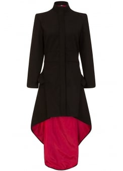 Medea Red Lined High-Low Gothic Coat