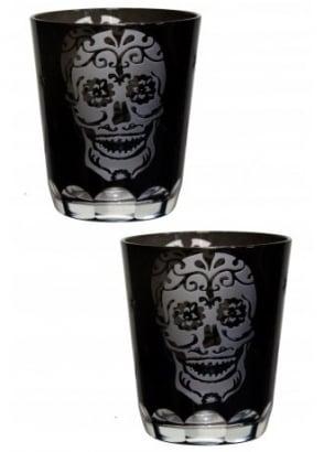 Sugar Skull Glasses Set of 2