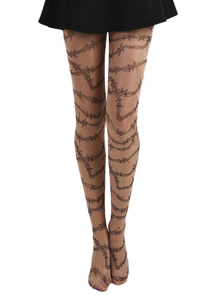 Barbed Wire Gothic Tattoo Tights