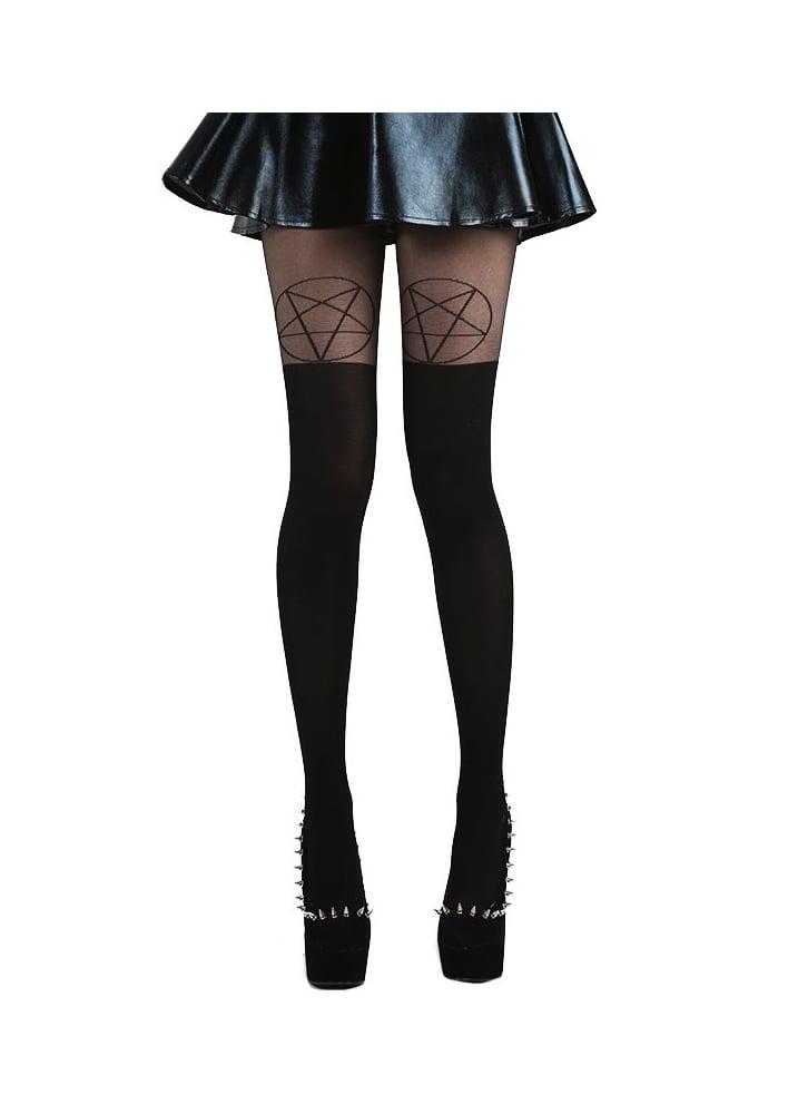 e36870b8e313a Black Black Pentagram Over The Knee Gothic Tights. Pamela Mann ...