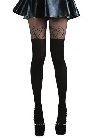 Pamela Mann Black/Black Pentagram Over The Knee Gothic Tights