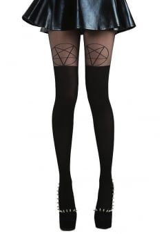 Black/Black Pentagram Over The Knee Gothic Tights