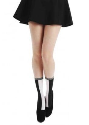 Black White Opaque Ankle Socks