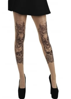 See, Hear, Speak No Evil Tattoo Tights