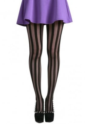 Solid Sheer Stripe Tights