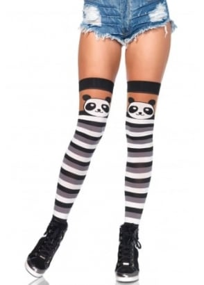 Party Panda Striped Thigh Highs
