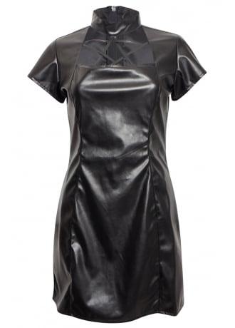 Phaze Leather Look Pentagram Dress