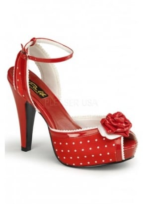 Bettie-06 Polka Dot Peep Toe Shoe