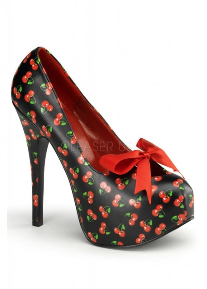 Pin Up Couture Teeze-12 Cherry Bow Shoe