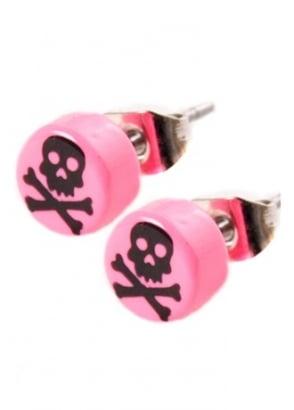 Pink & Black Skull & Crossbone Stud Earrings