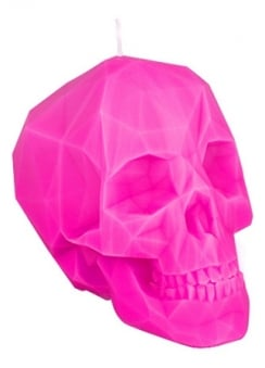 Pink Polly-Skull Candle