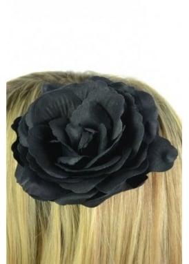 Large Black Rose Hair Clip
