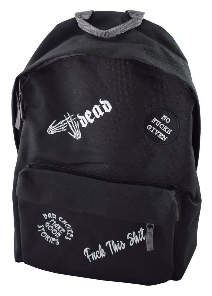 No Fucks Given Multipatch Embroidered Backpack