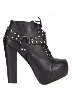 Studded Tri-Strap Gothic Ankle Boot