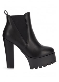 Pull On Platform Ankle Boot