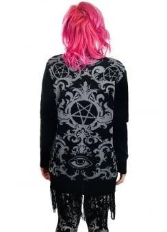 Baroque Victorian Gothic Pentagram Long Fringe Cardigan
