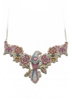 Wooden Tattoo Bird Necklace