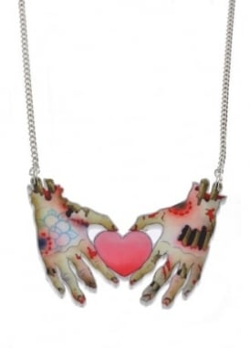 Zombie Hands And Heart Tattoo Necklace