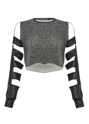 Cut Out Faux Leather Long Sleeve Top