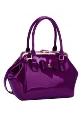 Purple Patent Bow Handbag