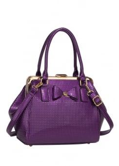 Purple Textured Bow Handbag