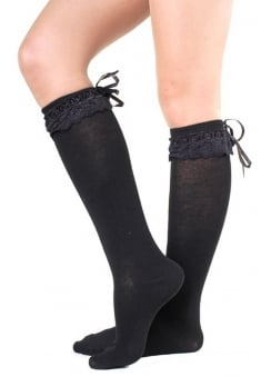 Black Lace Frill Socks
