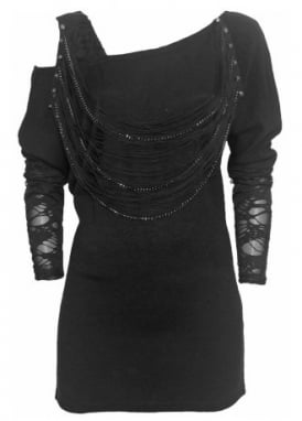 Chain Stud Cut Out Shoulder Sweater