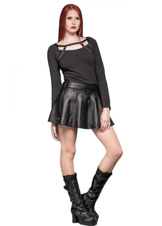 Queen of Darkness Faux Leather Gothic Mini Skirt