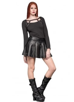 Faux Leather Gothic Mini Skirt