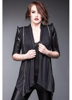 Faux Leather Sleeve Zipper Jacket