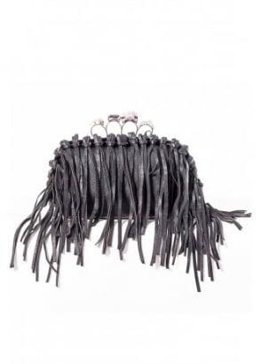 Fringed Skull Knuckleduster Clutch Bag