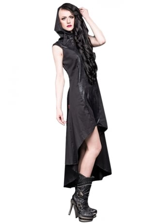 Queen of Darkness High Collar Hooded Gothic Dress