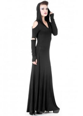 Hooded Cut Out Shoulder Maxi Dress