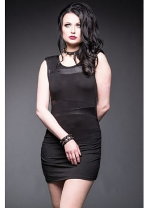 Leather Insets Mini Dress