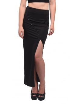 Long Thigh Split Gothic Skirt