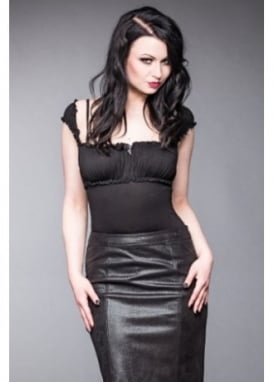 Ruched Bust Gothic Top