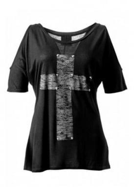Studded Cross Cut Out Shoulder T-Shirt