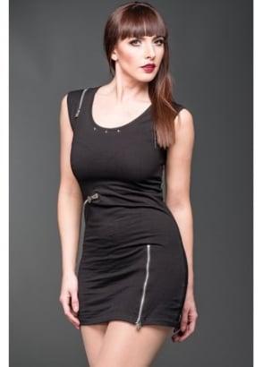 Zipper Bodycon Mini Dress