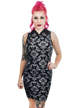 Rat Baby Baroque Pentagram Wednesday Addams Collar Dress