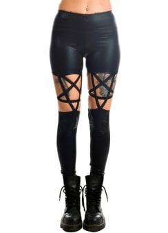 Black Glitter Pentagram Leggings