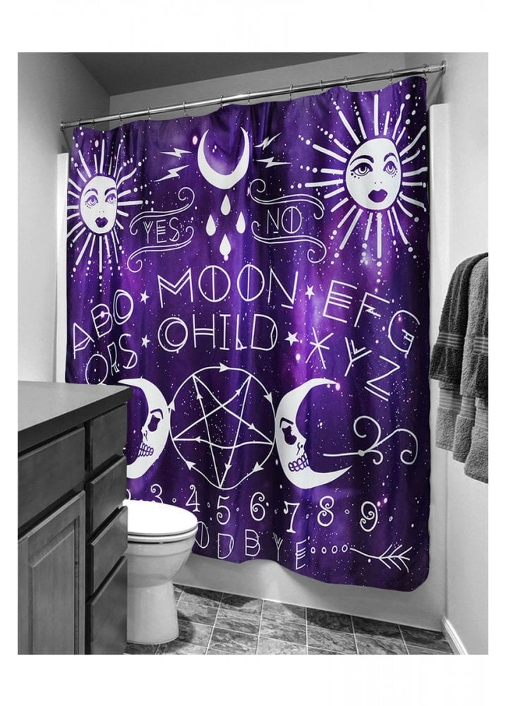 Moon Child Spirit Board Purple Ouija Shower Curtain