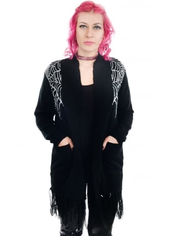 Rat Baby Spider Web Long Fringe Cardigan