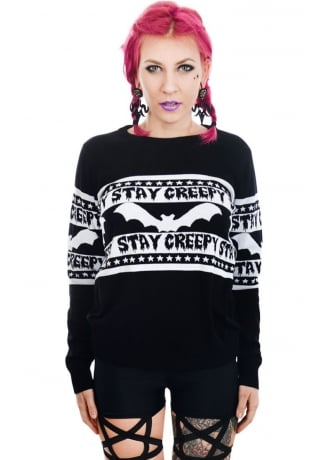 Rat Baby Stay Creepy Bats Cult Sweater