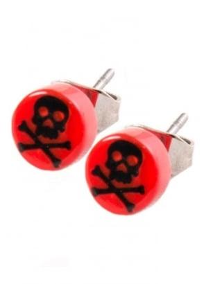 Red & Black Skull & Crossbone Stud Earrings