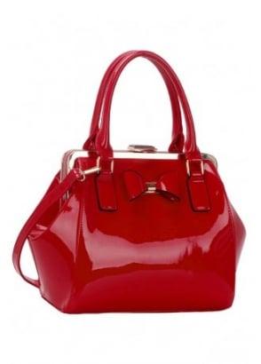 Red Patent Bow Handbag