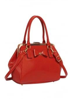 Red Textured Bow Handbag